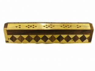 Yellow / Brown Patterned Wooden  Incense Holder / Smoke Box With Storage